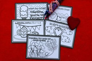 Printable girl color your own valentine cards